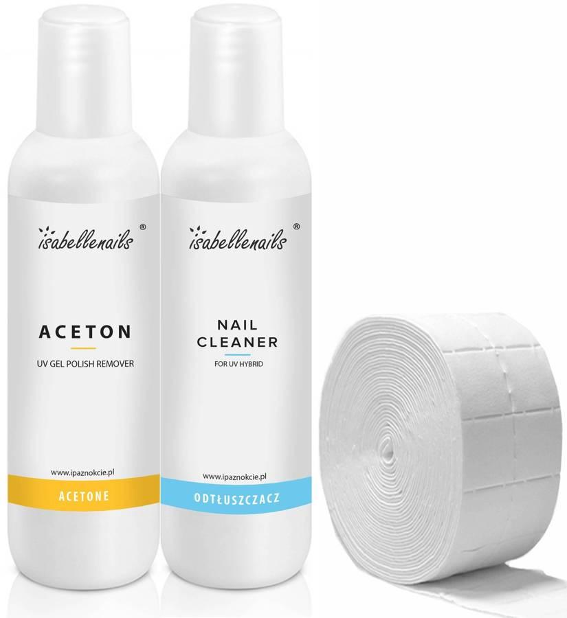 Zestaw Aceton -Remover 1000ml + Cleaner-Odtłuszczacz 1000ml + waciki 20szt.